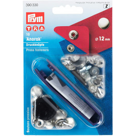 Prym Boutons pression Anorak laiton 12mm argent + outil