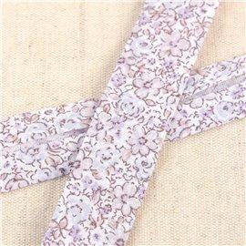 Bobine de biais petites fleurs 25m Gris Clair
