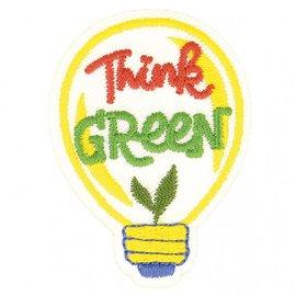 Lot de 3 écussons thermocollants éco friendly tissu bio Think green 7cm x 5cm