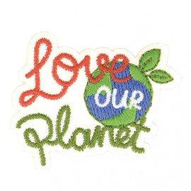 Lot de 3 écussons thermocollants éco friendly tissu bio Love our planet 7cm x 5cm