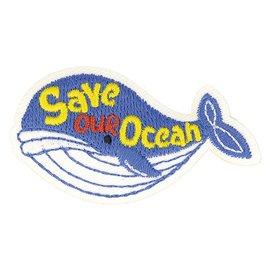 Lot de 3 écussons thermocollants éco friendly tissu bio Save our ocean 7cm x 5cm