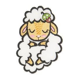 Lot de 3 écussons thermocollants animal endormi tissu bio mouton 5cm x 4cm