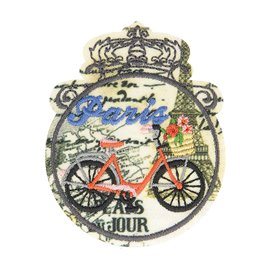 Lot de 3 écussons thermocollants vintage vélo 6cm x 4,5cm