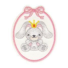 Lot de 3 écussons thermocollants badge lapine 5,5cm x 4,5cm