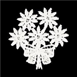Lot de 3 écussons thermocollants fleur dentelle bouquet 3,5cm x 3,5cm