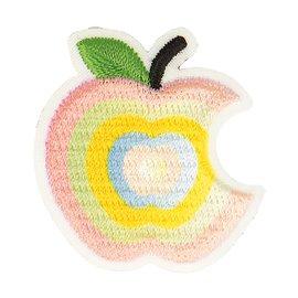 Lot de 3 écussons thermocollants pomme croquée dégradé rose 3cm x 3cm