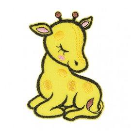 Lot de 3 écussons thermocollants animal endormi tissu bio girafe 6cm x 4cm