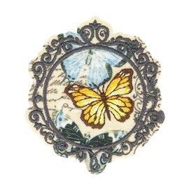 Lot de 3 écussons thermocollants vintage papillon 5,5cm x 4,5cm