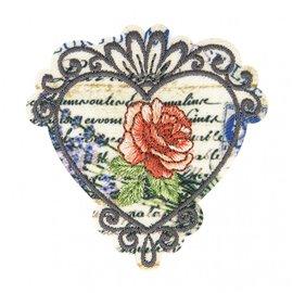 Lot de 3 écussons thermocollants vintage rose 5,5cm x 5,5cm