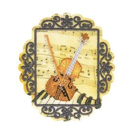 Lot de 3 écussons thermocollants vintage violon 6cm x 5cm