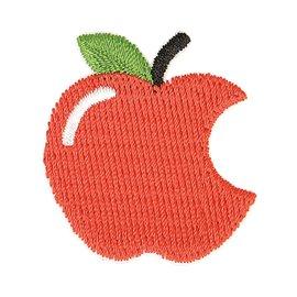 Lot de 3 écussons thermocollants pomme croquée rouge 3cm x 3cm