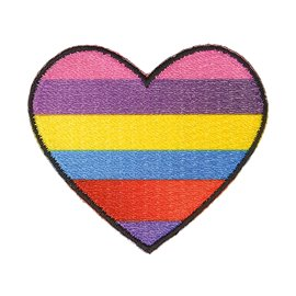 Lot de 3 écussons thermocollants cœur multicolore 3,5cm x 3,5cm