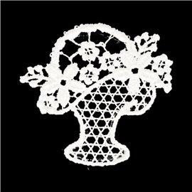 Lot de 3 écussons thermocollants fleur dentelle pot de fleur 3cm x 3cm