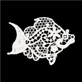 Lot de 3 écussons thermocollants dentelle élégant poisson 5cm x 3,5cm