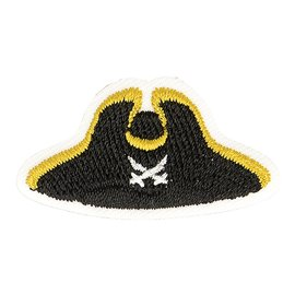 Lot de 3 écussons thermocollants chapeau marin pirate 4cm x 2cm