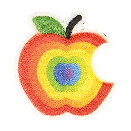Lot de 3 écussons thermocollants pomme croquée multicolore 3cm x 3cm