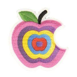 Lot de 3 écussons thermocollants pomme croquée dégradé fushia 3cm x 3cm