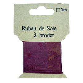 Ruban de soie à broder 4mm de 3 mètres Lie de vin