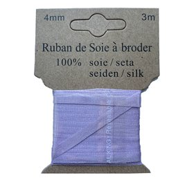 Ruban de soie à broder 4mm de 3 mètres Mauve