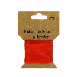 Ruban de soie à broder 4mm de 3 mètres Corail