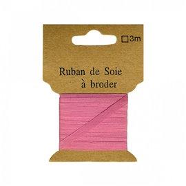Ruban de soie à broder 4mm de 3 mètres Rose