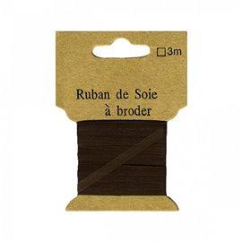 Ruban de soie à broder 4mm de 3 mètres Marron