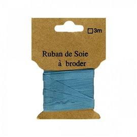 Ruban de soie à broder 4mm de 3 mètres Bleu canard
