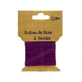 Ruban de soie à broder 4mm de 3 mètres Prune
