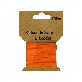 Ruban de soie à broder 7mm de 3 mètres Orange