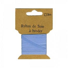 Ruban de soie à broder 7mm de 3 mètres Bleu fumé