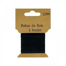 Ruban de soie à broder 7mm de 3 mètres Noir