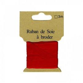 Ruban de soie à broder 7mm de 3 mètres Rouge vif