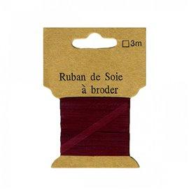 Ruban de soie à broder 7mm de 3 mètres Bordeaux
