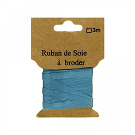 Ruban de soie à broder 7mm de 3 mètres Bleu canard