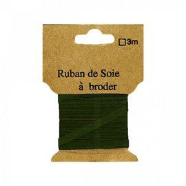 Ruban de soie à broder 7mm de 3 mètres Sapin