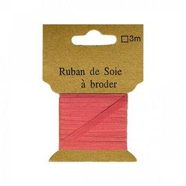 Ruban de soie à broder 4mm de 3 mètres Rose dragée