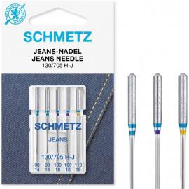 5 Aiguilles jeans Schmetz 130/705 H-J grosseur 90-110