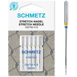 5 Aiguilles Schmetz Stretch 130/705 H-S grosseur 90