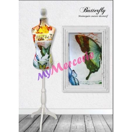Mannequin couture décoratif motif Butterfly