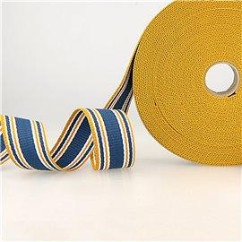 Bobine 20m sangle rayures tricolore bleu orange blanc 30mm