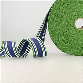 Bobine 20m sangle rayures tricolore bleu vert blanc 38mm