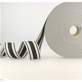 Bobine 20m sangle rayures tricolore noir gris blanc 38mm