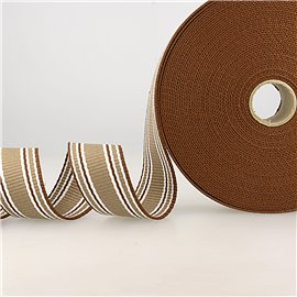 Bobine 20m sangle rayures tricolore marron café blanc 38mm