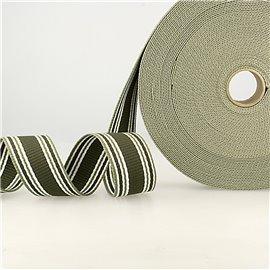 Bobine 20m sangle rayures tricolore kaki vert blanc 38mm
