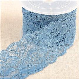 Bobine 15m dentelle élastique fleurs Bleu Lavande 60mm