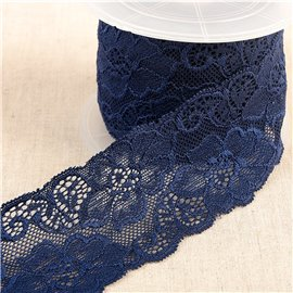 Bobine 15m dentelle élastique fleurs Bleu Marine 60mm