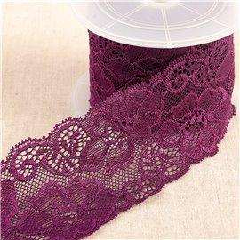 Bobine 15m dentelle élastique fleurs Violet 60mm