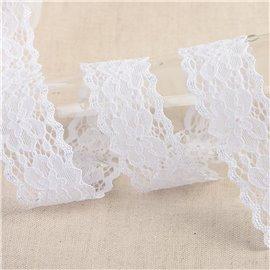 Bobine 15m dentelle élastique fleurs Blanc 25mm