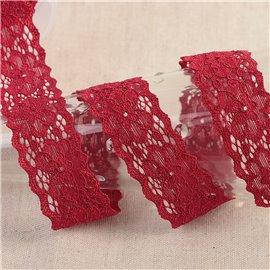 Bobine 15m dentelle élastique fleurs Bordeaux 25mm