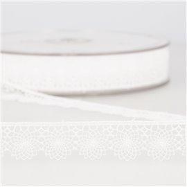 Tulle brodé 16mm blanc au mètre